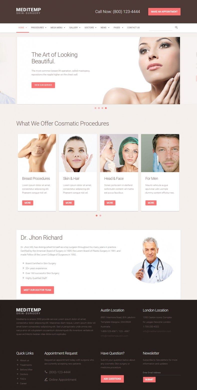 Bootstrap Responsive Plastic Surgery Website Template