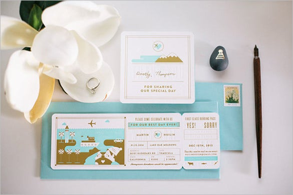 bording pass letterpress wedding invitation card template