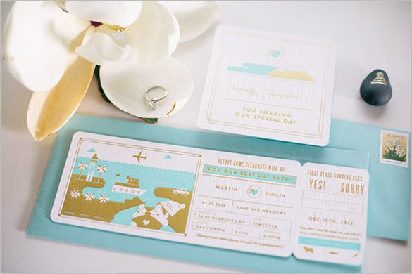 bording pass wedding name card template free download