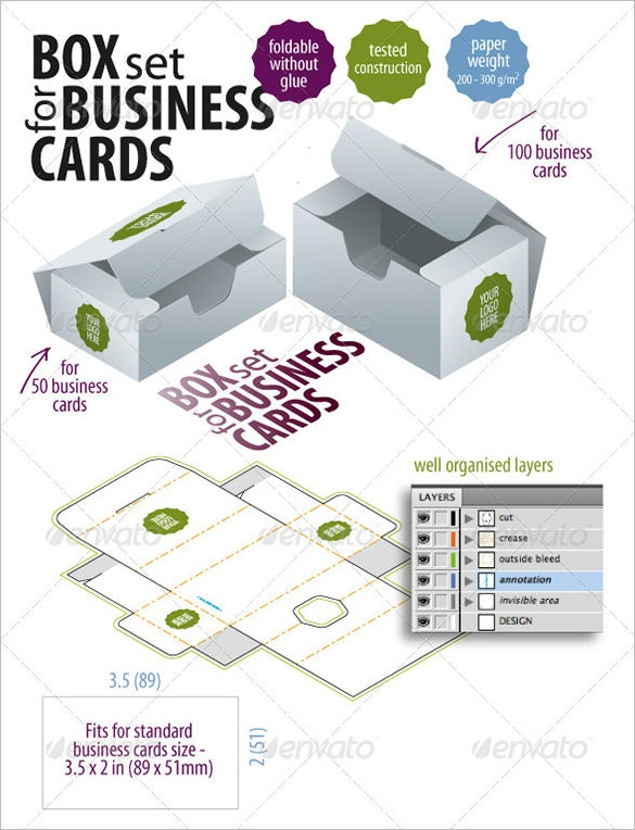 10 business card box templates amp design files free