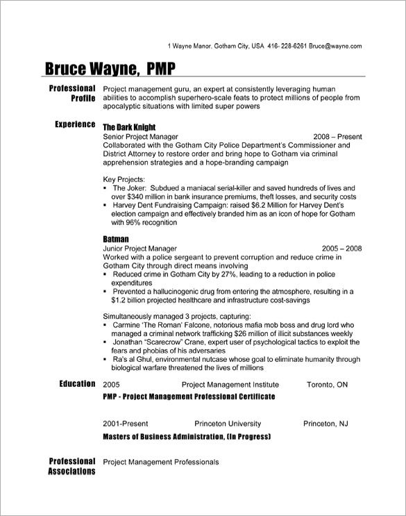 bruce wayne project manager resume template