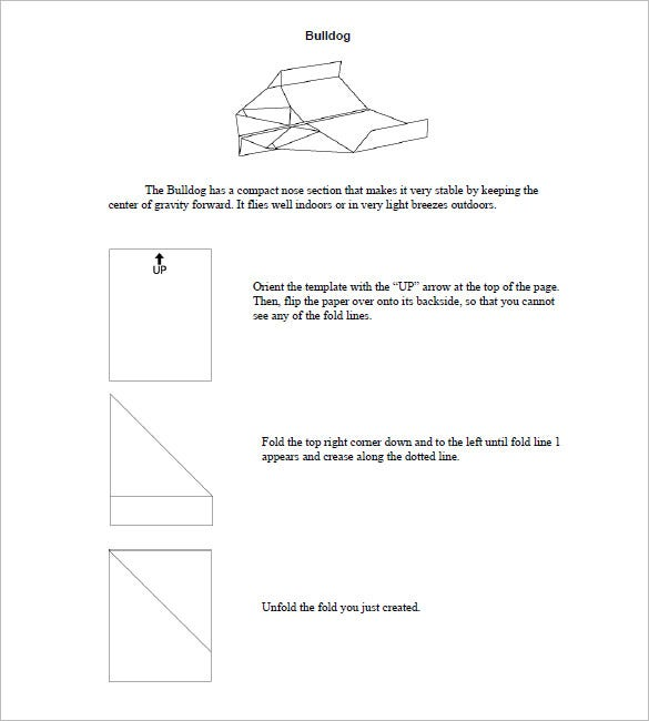 bulldog paper airplane instructions