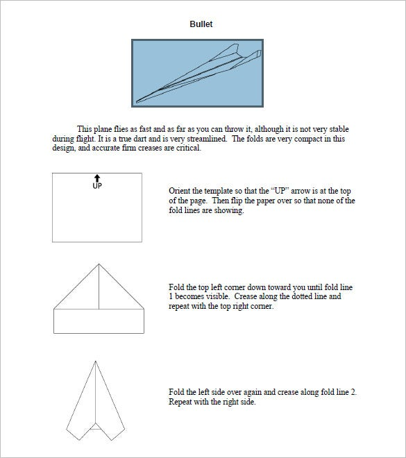 Editable Bullet Paper Airplane Template Pdf