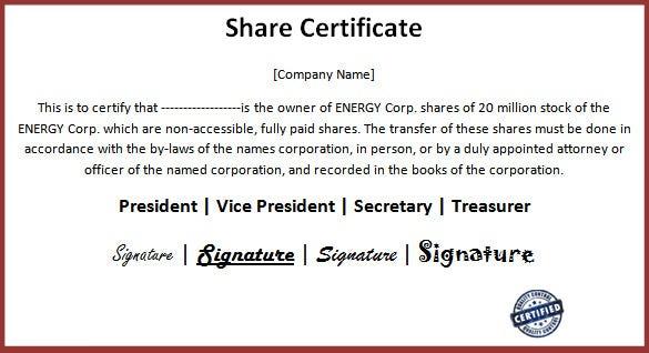 businees share certificate microsoft word download