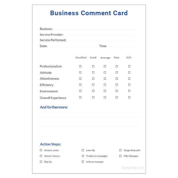 business-comment-card-template