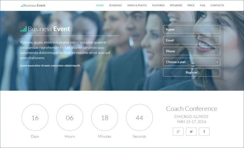 Business Event Landing Page Template