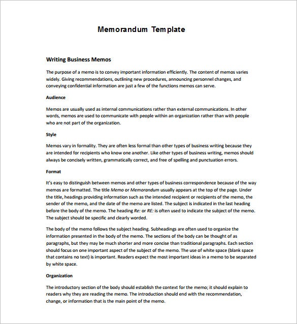 Business Memorandum Template Pdf