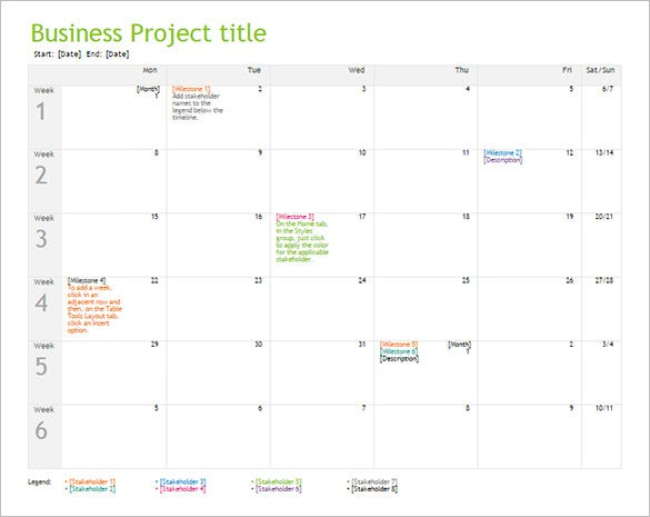 word project timeline template