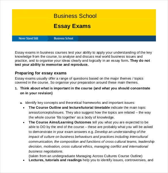 business school essay exam outline
