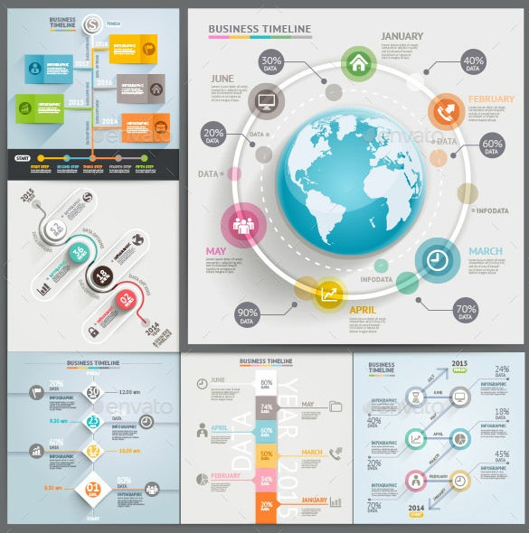 business timeline infographic vector eps example 6
