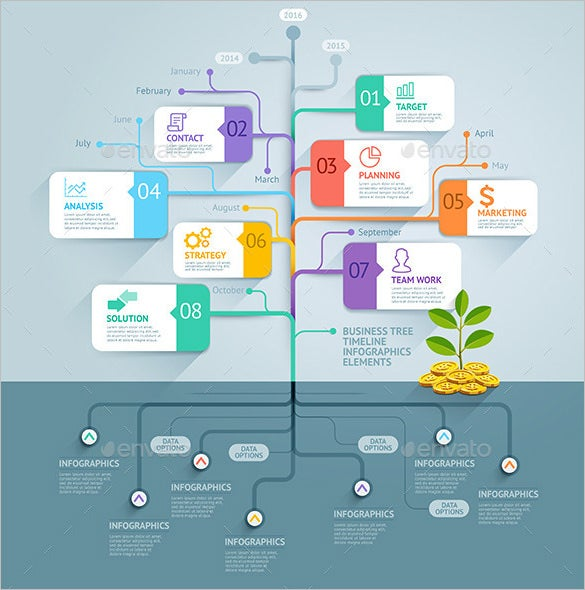 Business Tree Timeline Infographic Photoshop PSD Design U2013 $4