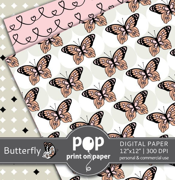 butterfly digital paper template 5
