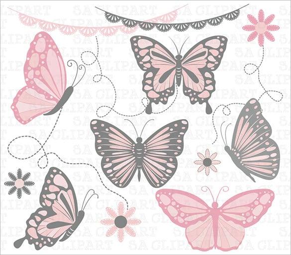 butterfly paper clip art template 6