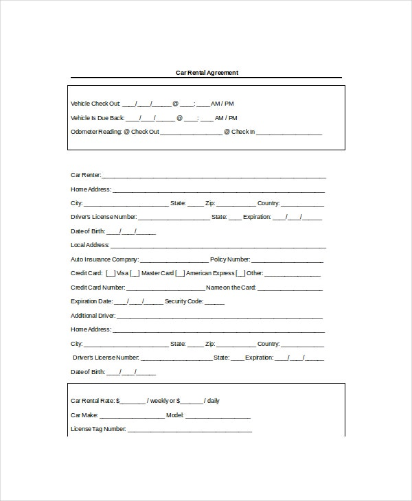 Rental Agreement Templates  Free Sample Example Format