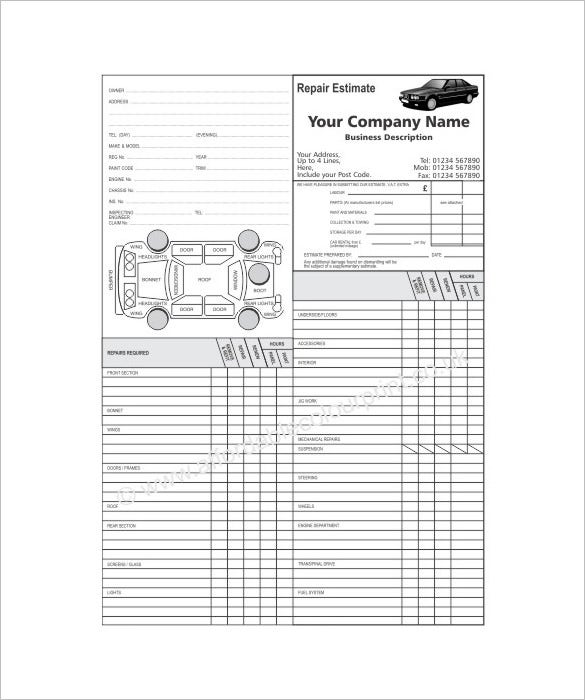 auto repair customer information sheet