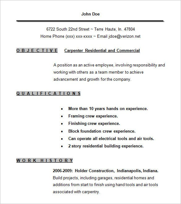Carpenter Resume Examples  Free Sample Of Resume