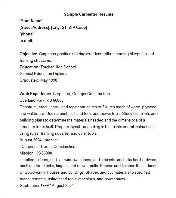 carpenter resume - Carpenter Resume Objective Samples