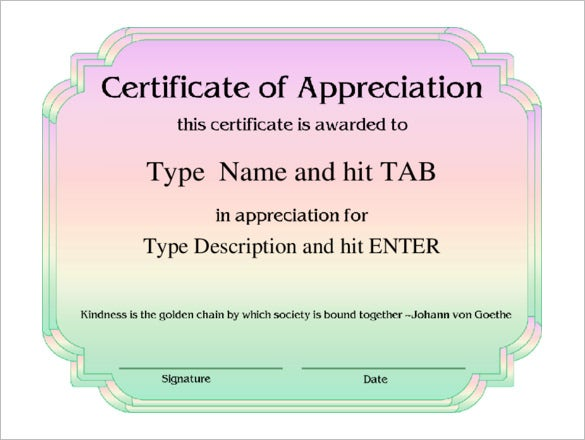 certificate of appreciation professional