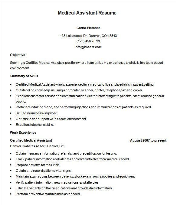 certified medical assistant resume free download - Sample Medical Assistant Resume
