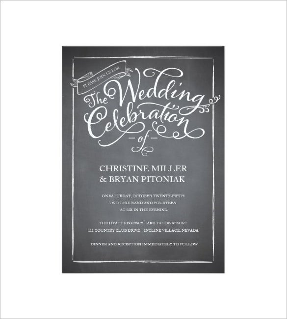 chalkboard script white wedding invitation card template 2