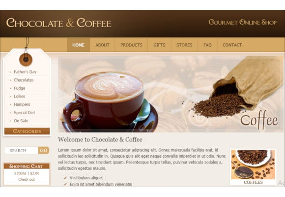 chocolate coffee cupcakes html template