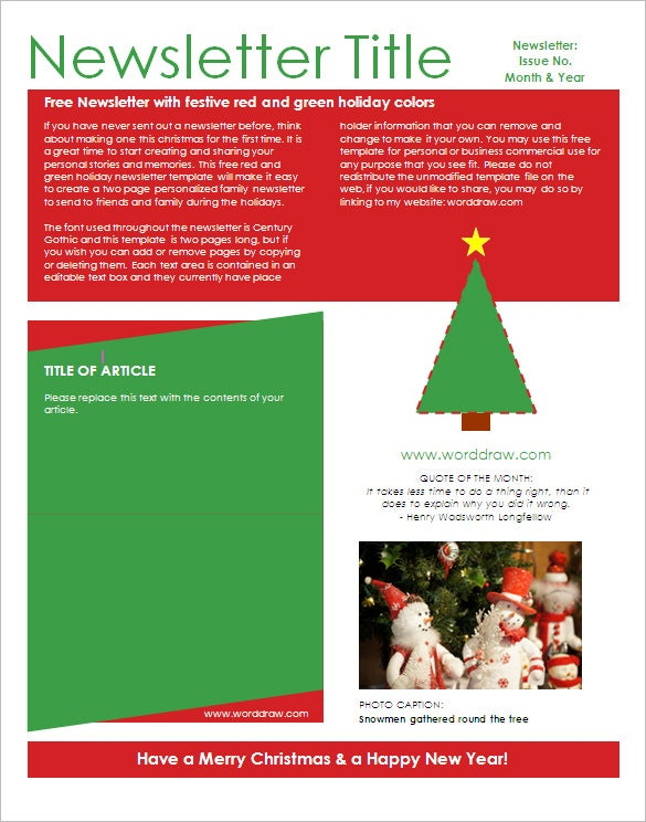 29 microsoft newsletter templates doc pdf psd ai free christmas holiday newsletter template spiritdancerdesigns Image collections