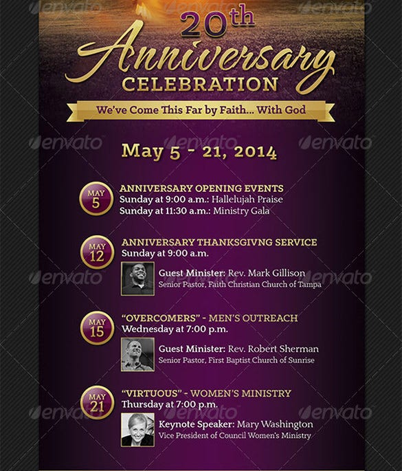 church anniversary event rack card psd template