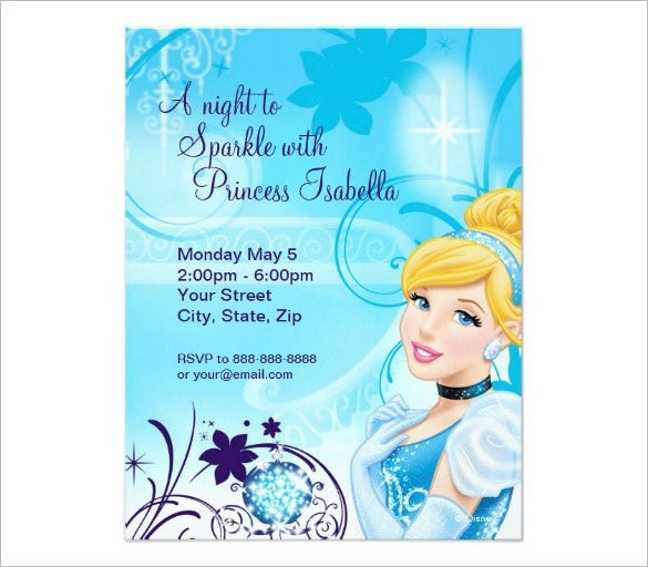 Amazing Cinderella Invitation Templates Designs Free - Birthday party invitations for kids free templates
