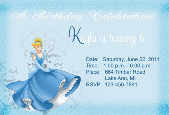 cindrella birthday invitataion template