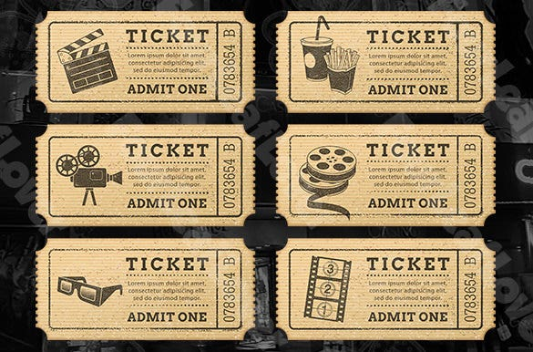 Cinema Drink Ticket Template  Movie Ticket Invitations Template