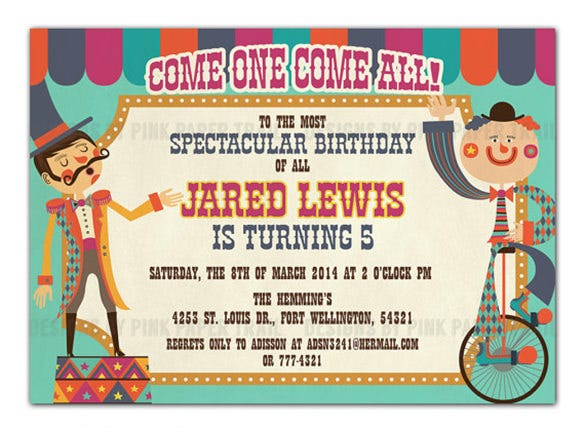circus party invitation template   free jpg, psd format, Birthday invitations