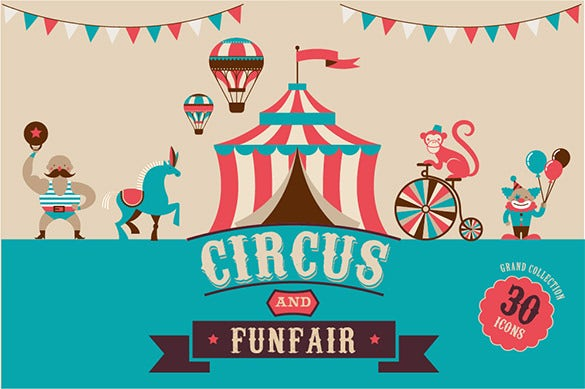 circus funfair invitataion templates