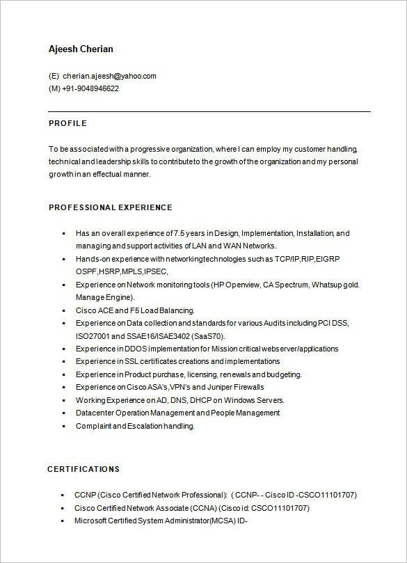 cisco network engineer resume template free download - Network Engineer Resume Sample