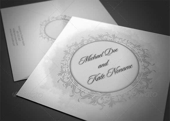 clasic wedding card and envelope psd template