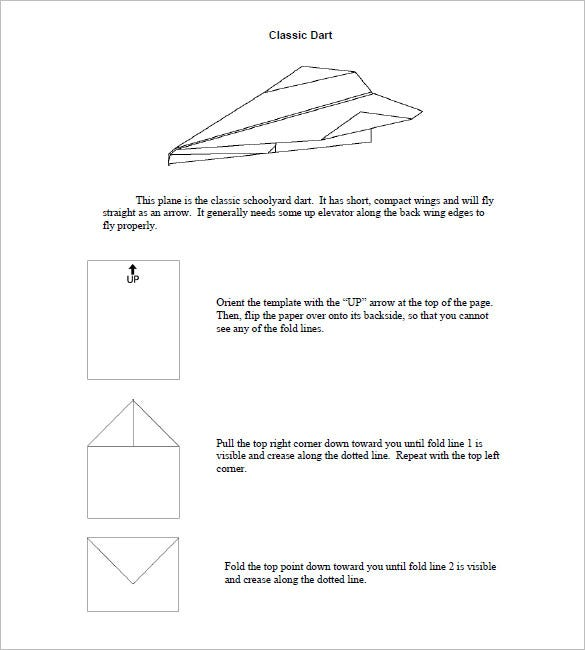 classic dart easy paper airplane templates