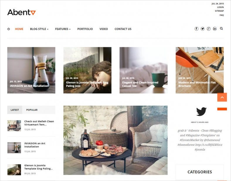 Clean Blogging and Magazine Joomla Template
