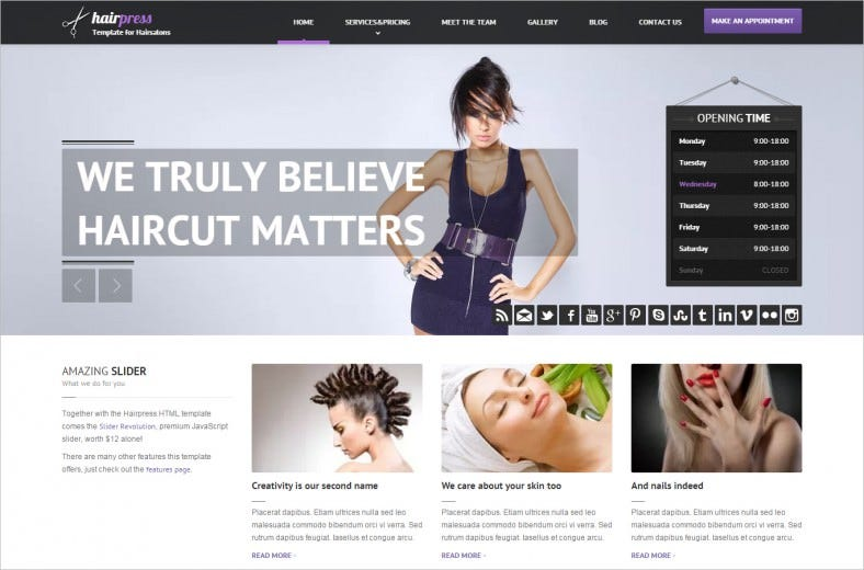Clean & Fully Responsive HTML Template for Hair Salons