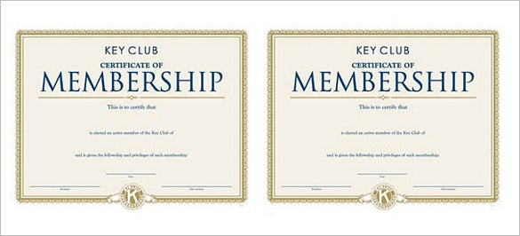 club membership certificate template download