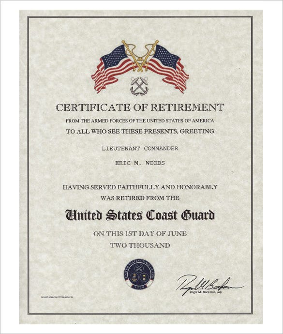 10 retirement certificate templates free pdf format download coast guard retirement certificate template yadclub Gallery