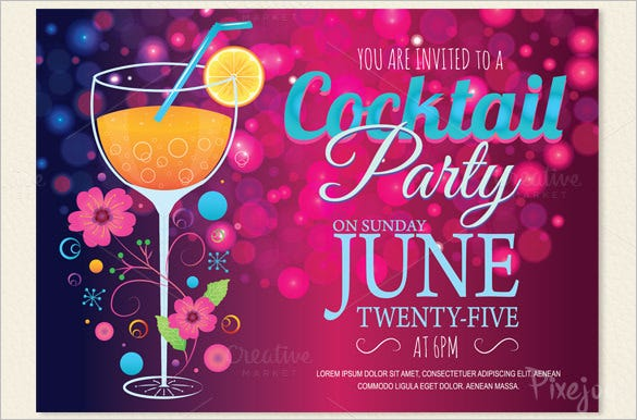 15 Stunning Cocktail Party Invitation Templates Designs – Cocktail Party Invitations Templates Free