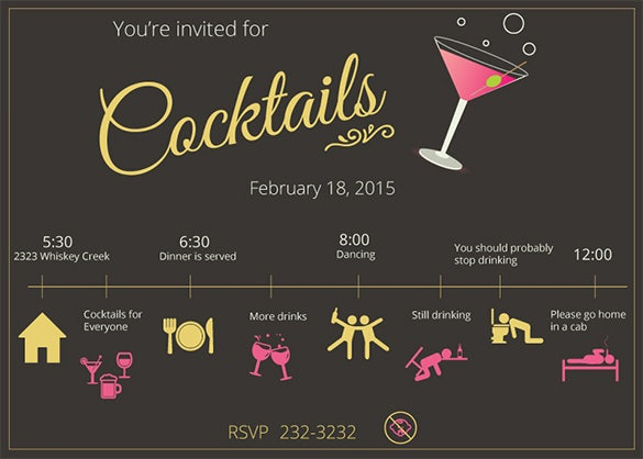 15 Stunning Cocktail Party Invitation Templates Designs – Cocktail Party Invitation Template