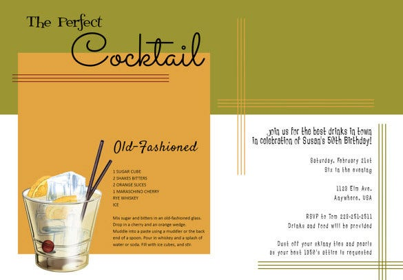 Cocktail Photoshop Invitation Template
