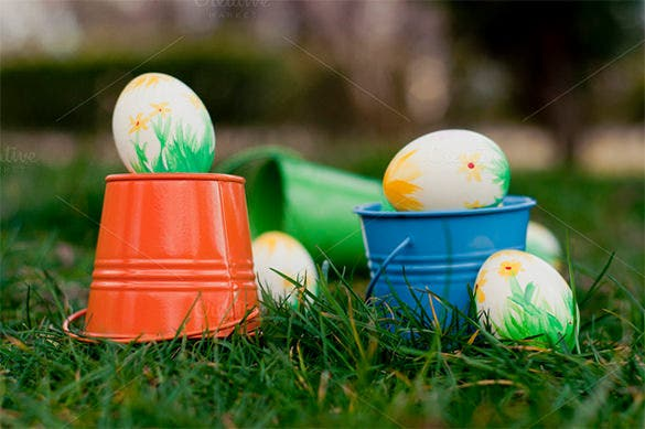 colourful easter eggs in bucket template