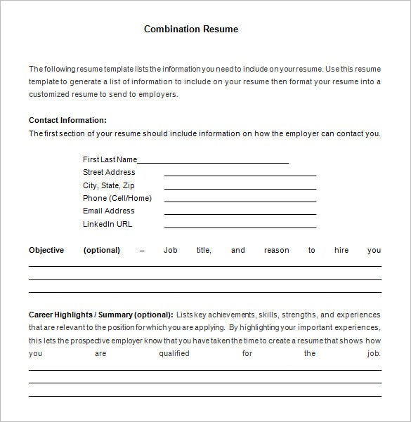 combination resume template sample