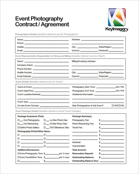 event photography contract 9  Commercial Photography Contract Templates - Free Word, PDF ...
