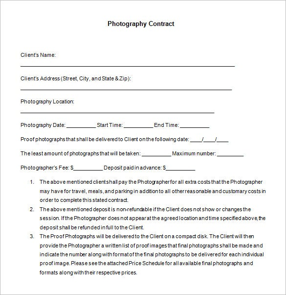 7 Commercial Photography Contract Templates Free Word Pdf Formats Download Premium Photographer Template