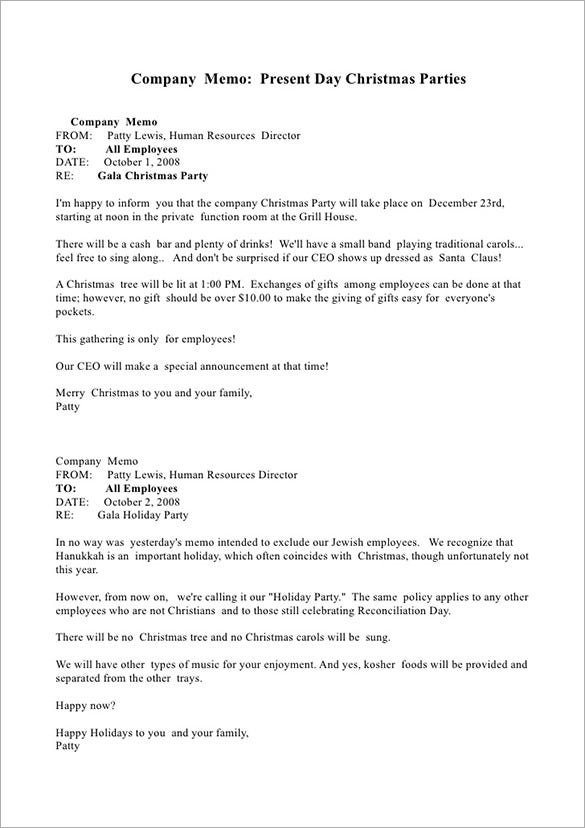company holiday memo template word example