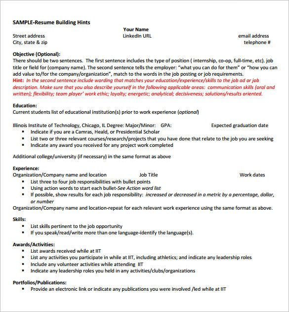 8+ Internship Resume Templates - PDF, DOC