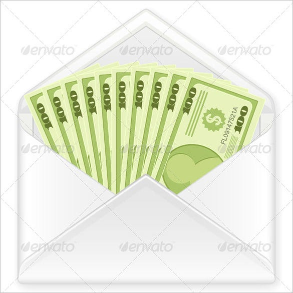 conceptual money envelope with banknotes
