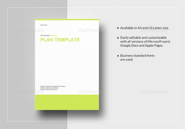 Construction Business Plan Template 12 Free Word Excel Pdf